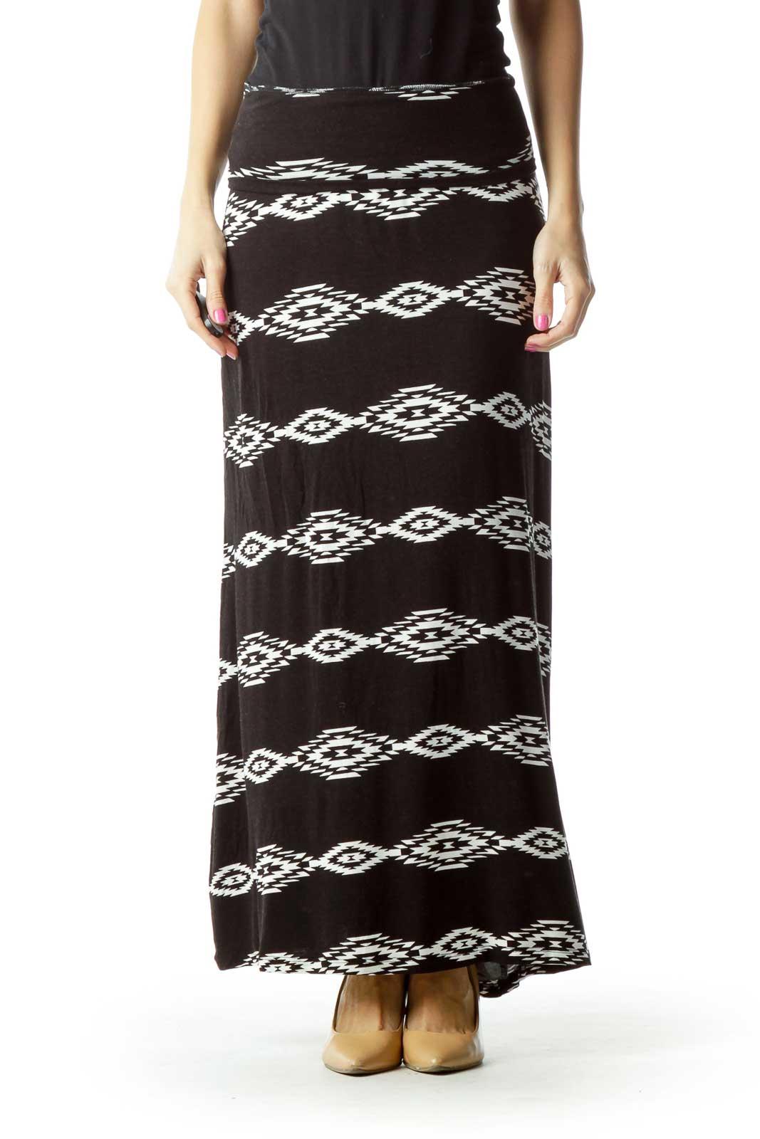 Black White Tribal Maxi Skirt Front