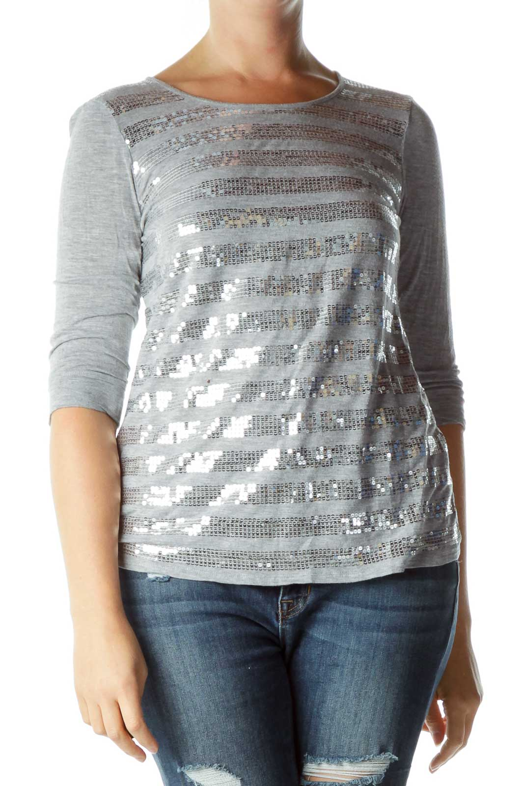 Gray Silver Sequined Top Front