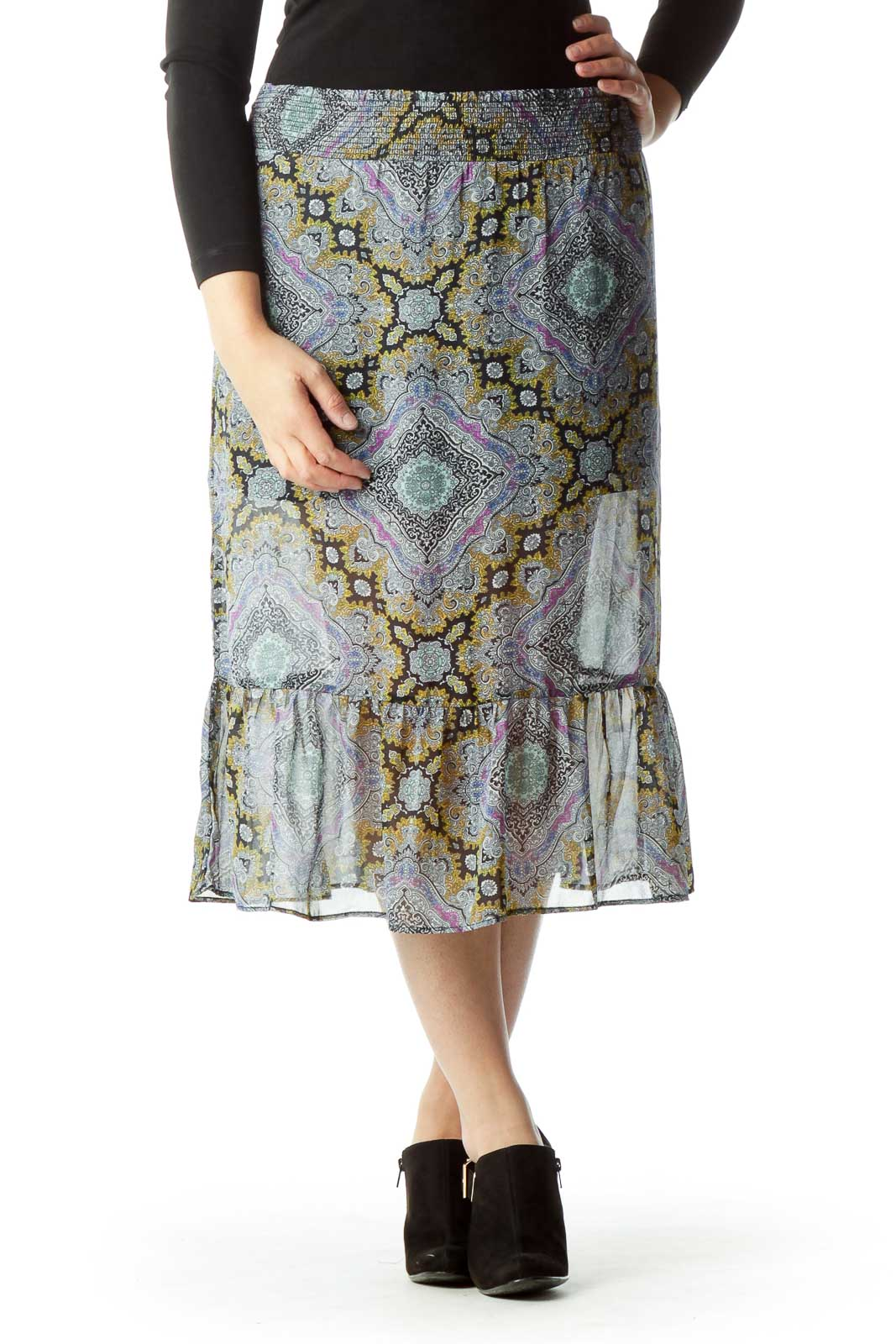 Multicolor Print Scrunch Waist Sheer Skirt Front