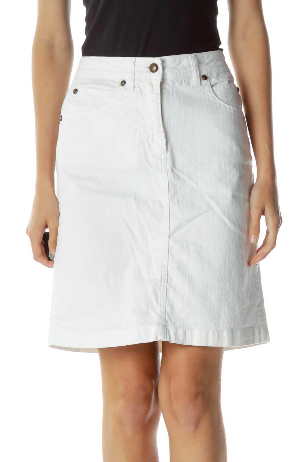 White Denim Pocketed Skirt Front