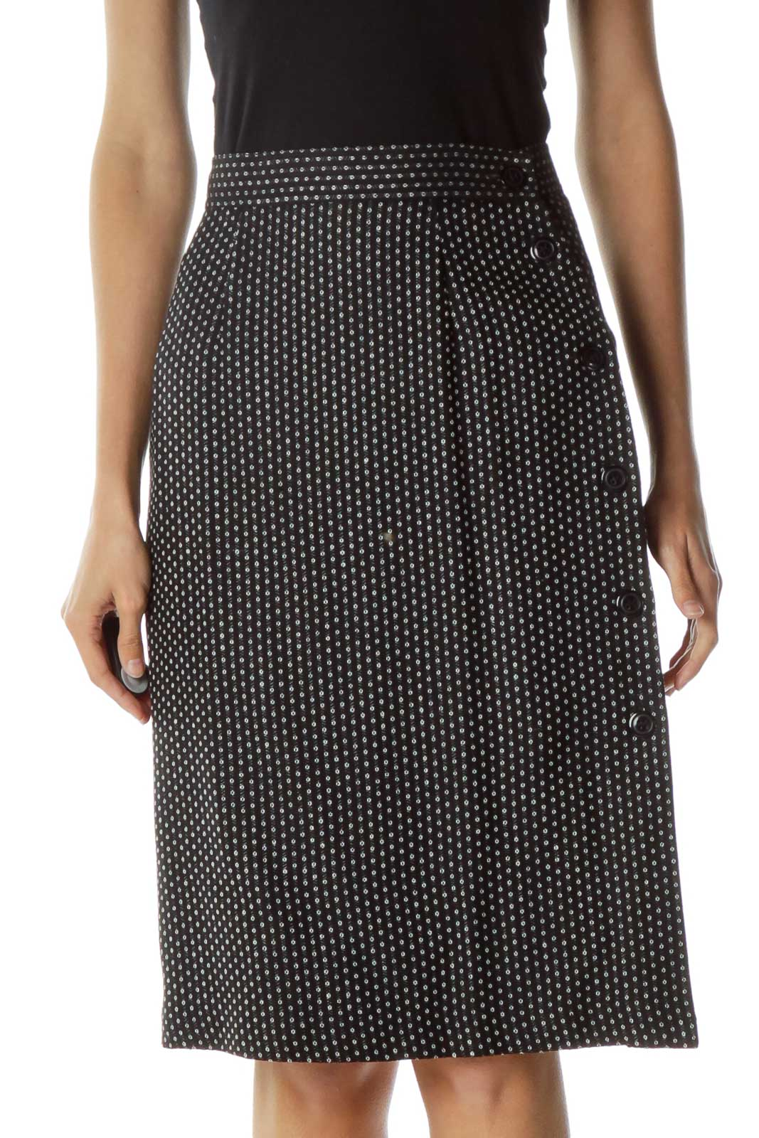 Black Printed Pencil with Button Detail Front