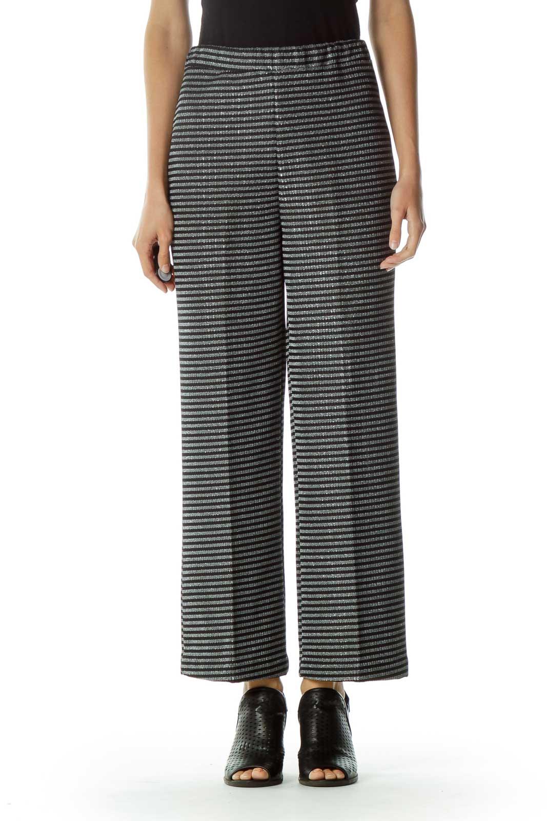 Black Gray Metallic Striped Pant Front