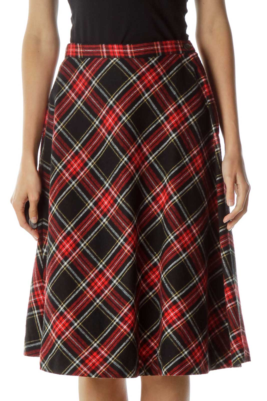 Red Black Plaid A-Line Skirt Front