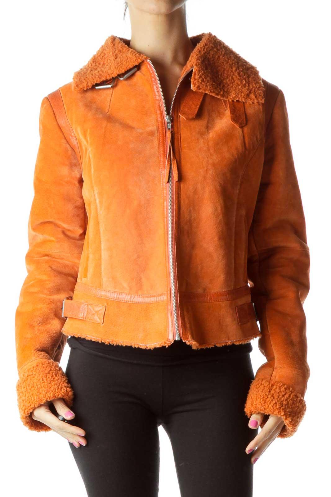 Orange Suede Zippered Coat Front