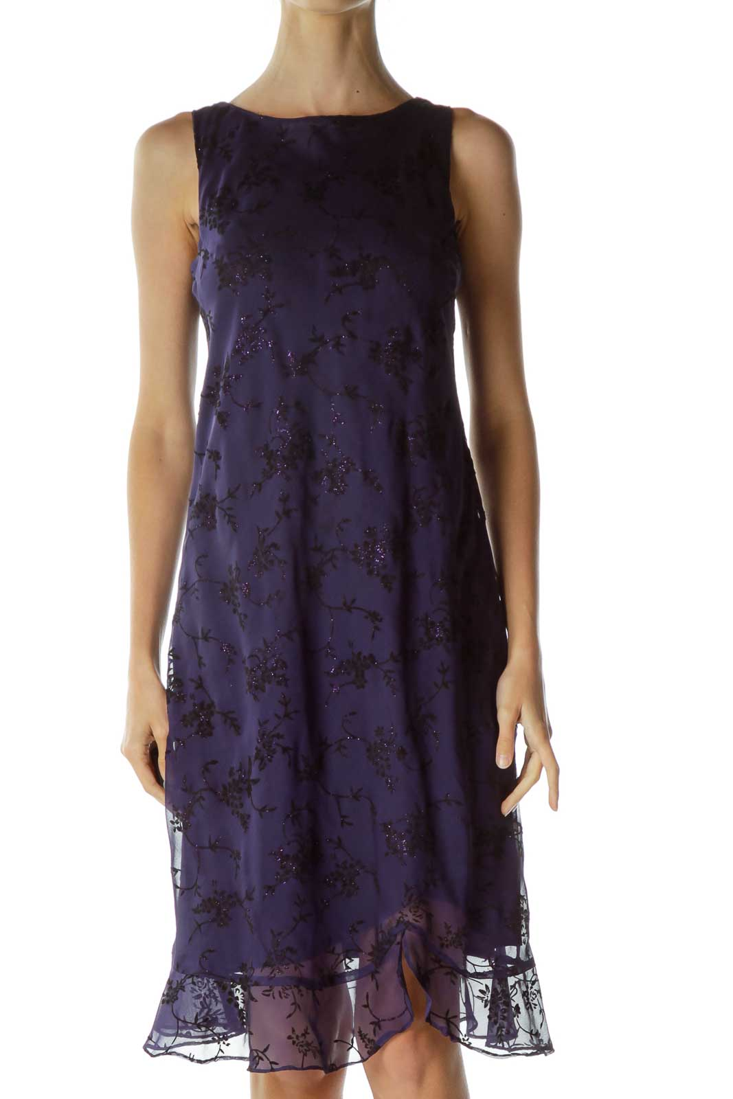 Purple Flower Print Vintage Shift Dress Front