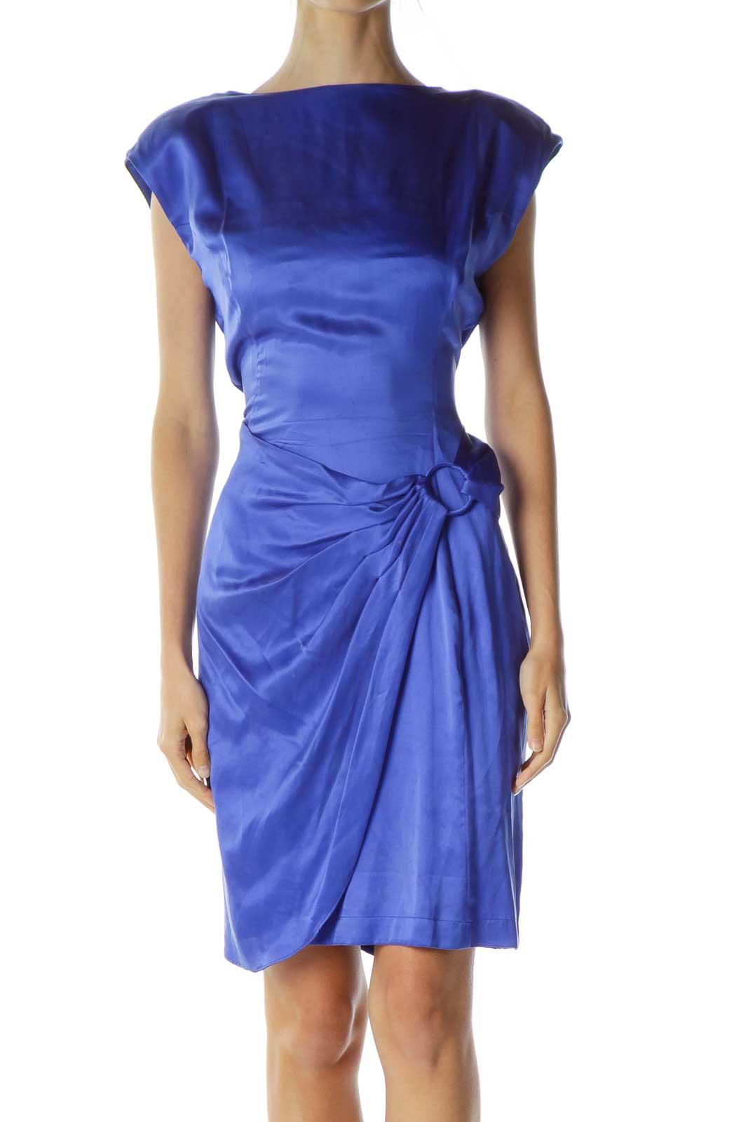 Blue Vintage Wrap Cocktail Dress Front