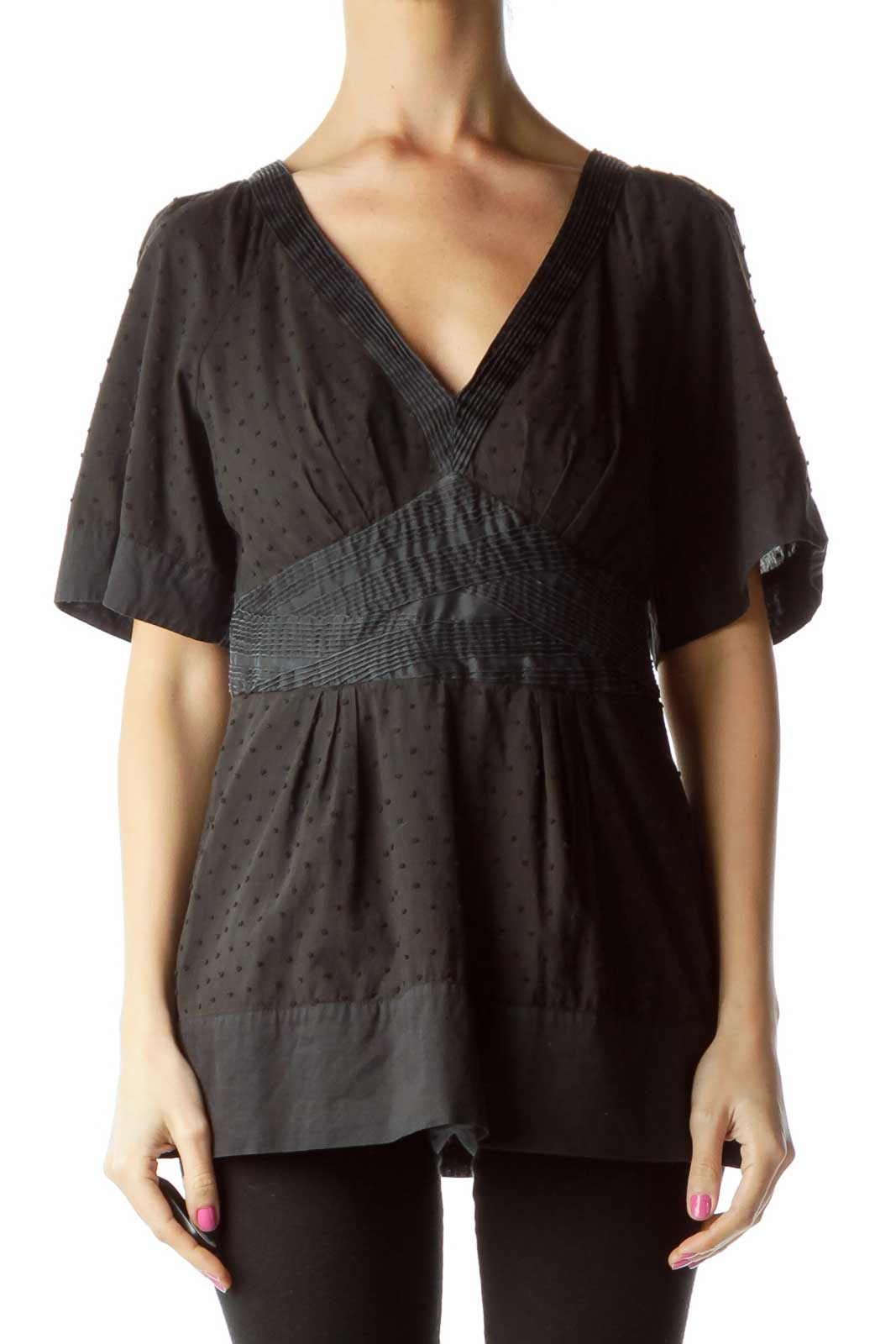 Black V-neck Short Sleeve Polka Dot Blouse Front
