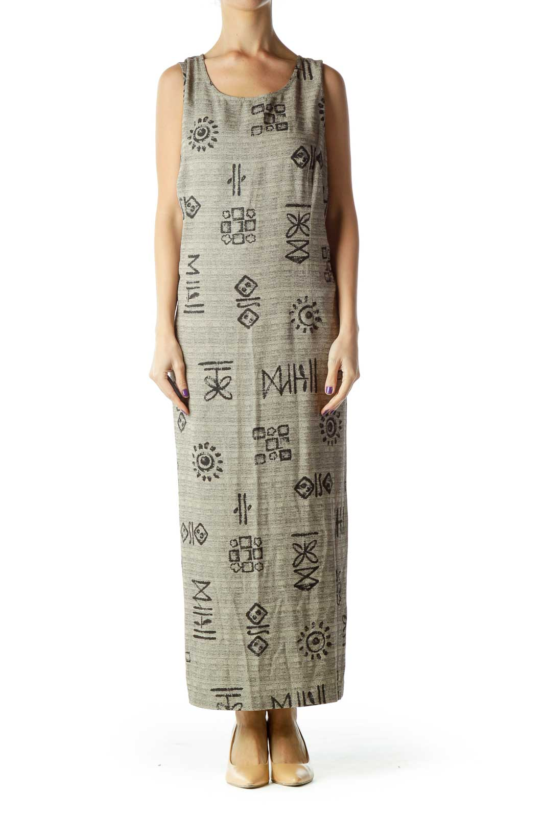 Beige Printed Sleeveless Maxi Dress Front