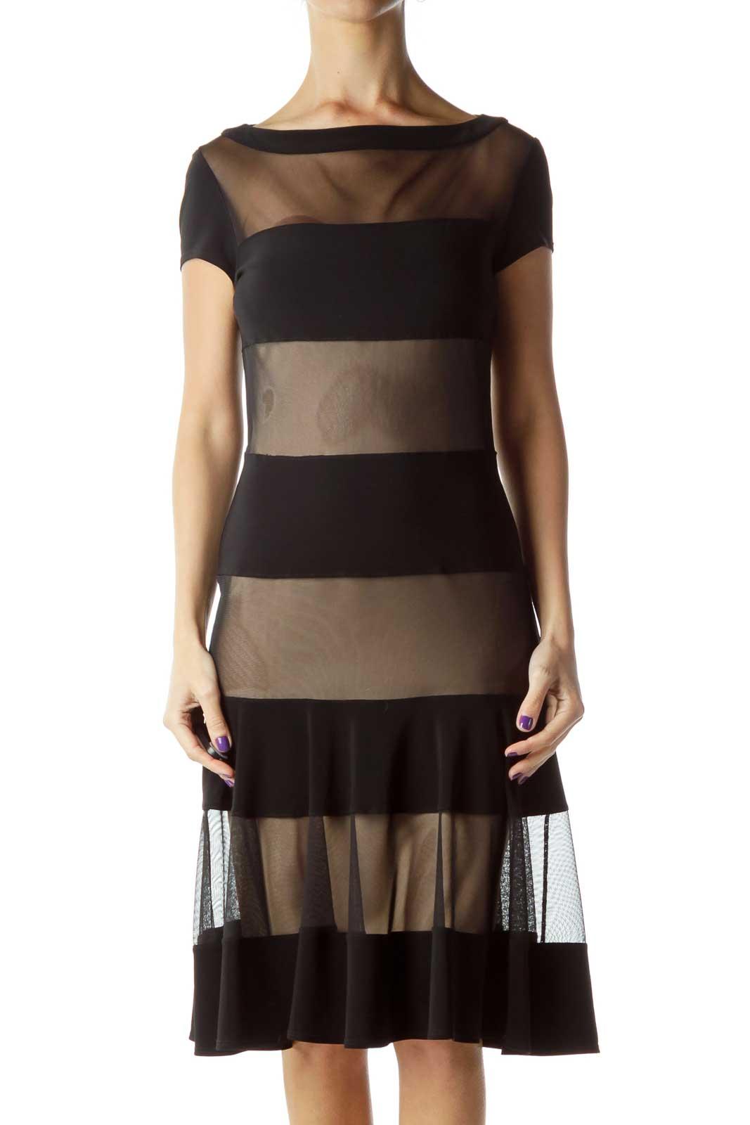 Black Beige Striped Bodycon Dress Front