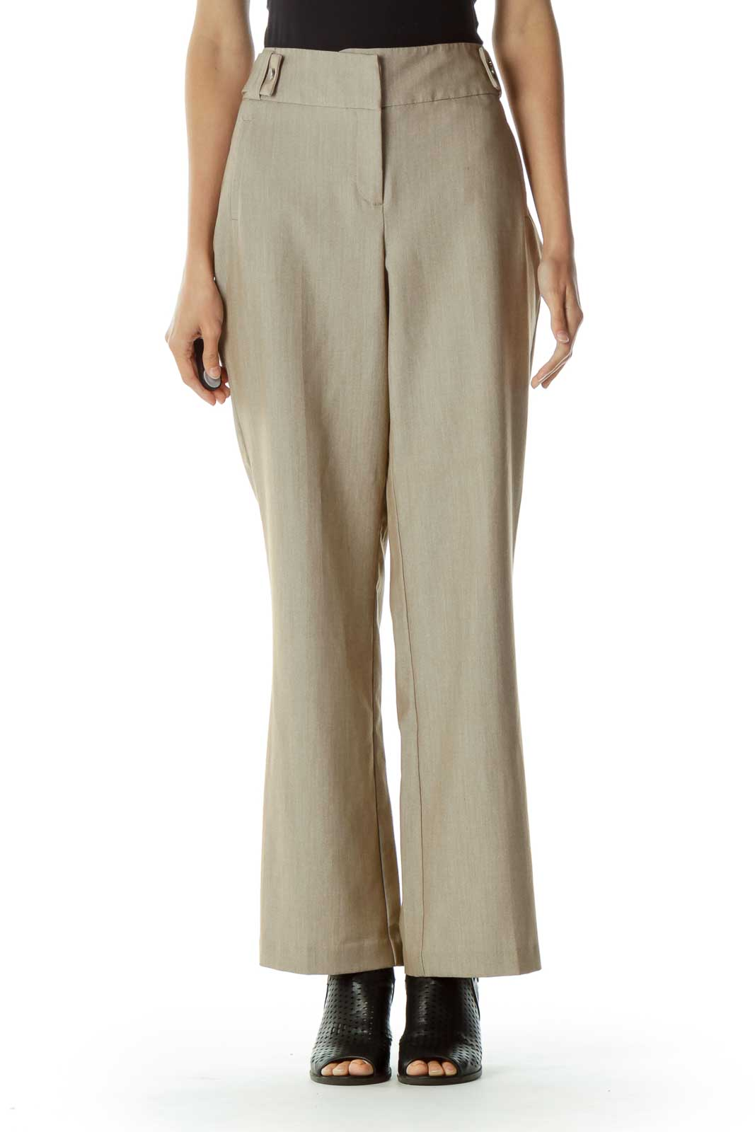 Beige Straight Leg Pant Front
