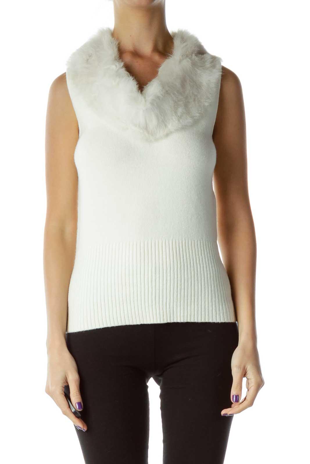 Cream Rabbit Fur Trim Vest Front