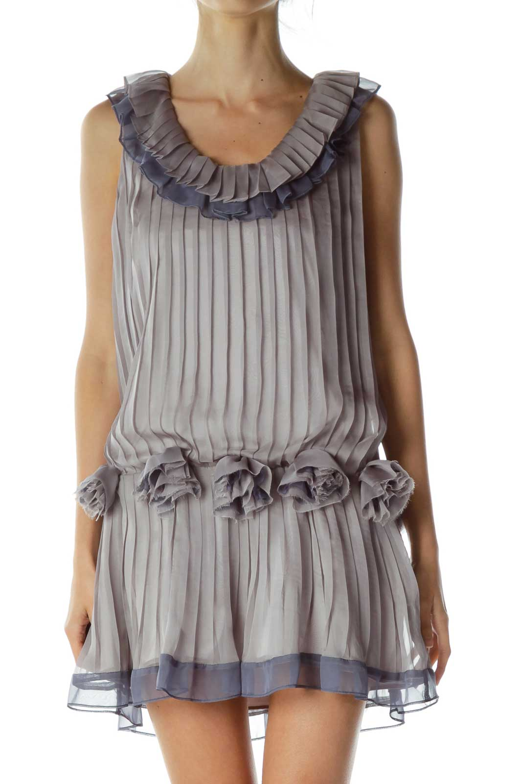 Purple Pleated Dress with Flower Detail Front