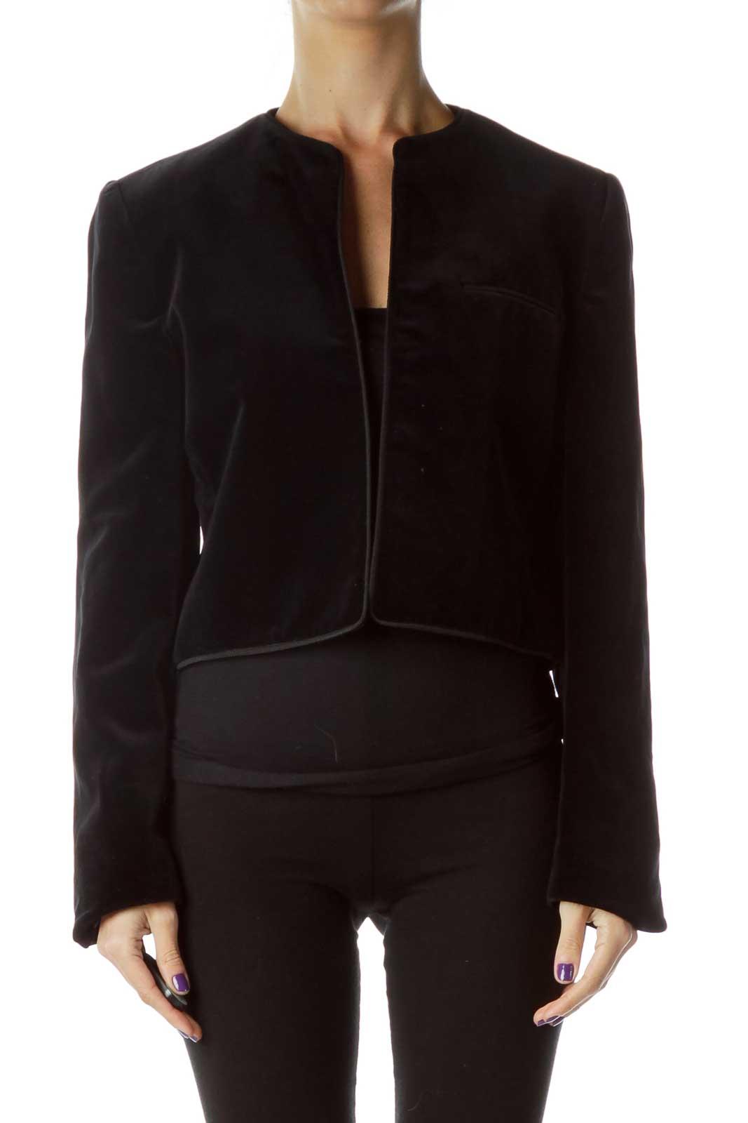 Navy Velvet Jacket with Trim Detail Front