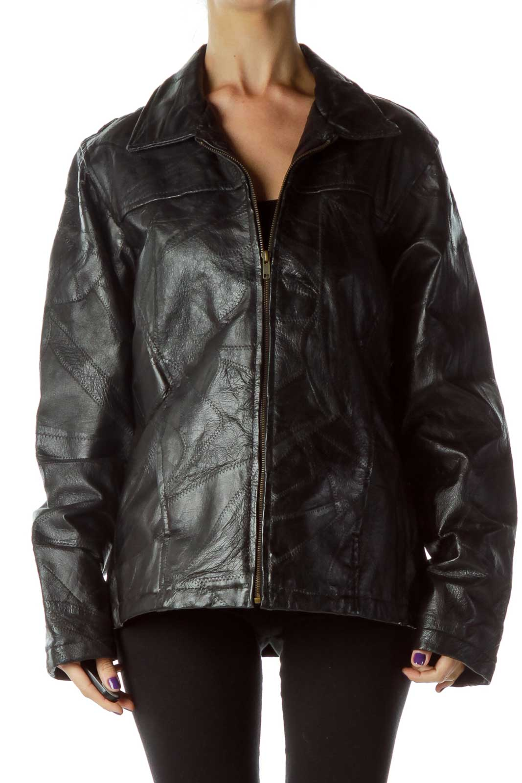 Black Leather Jacket with Quilted Detail Front
