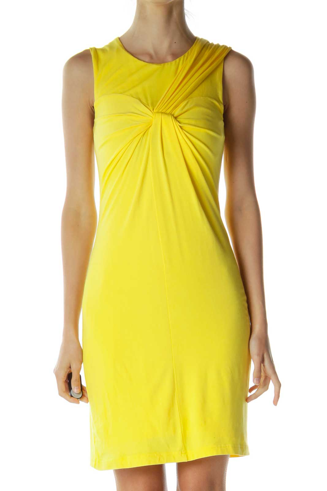 Yellow Scrunch Detailed Jersey Dress Front