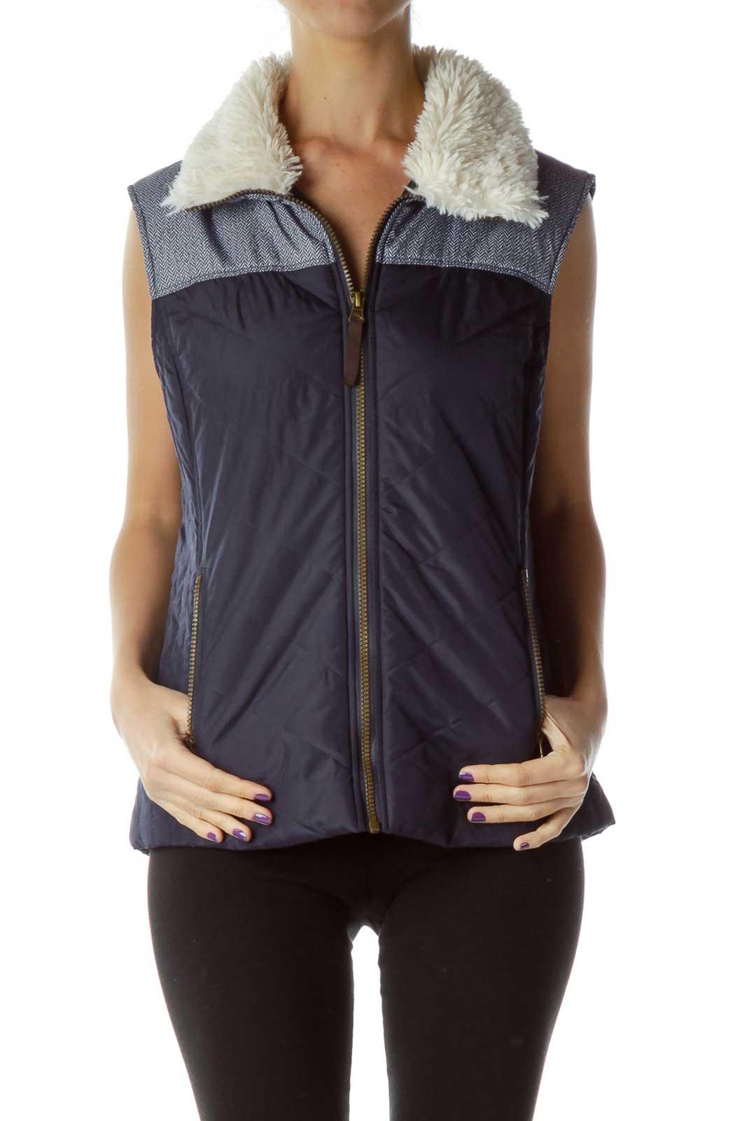 Blue Padded Vest with Faux-Fur Trim Front