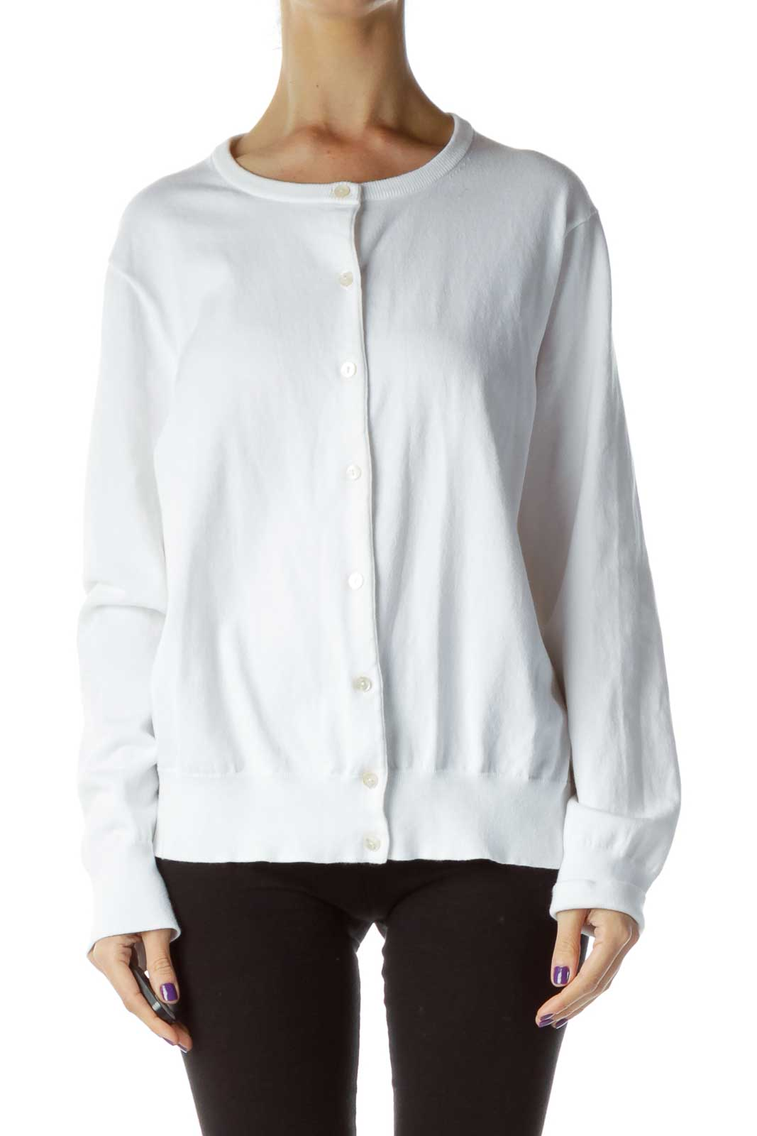 White Buttoned Cardigan Front