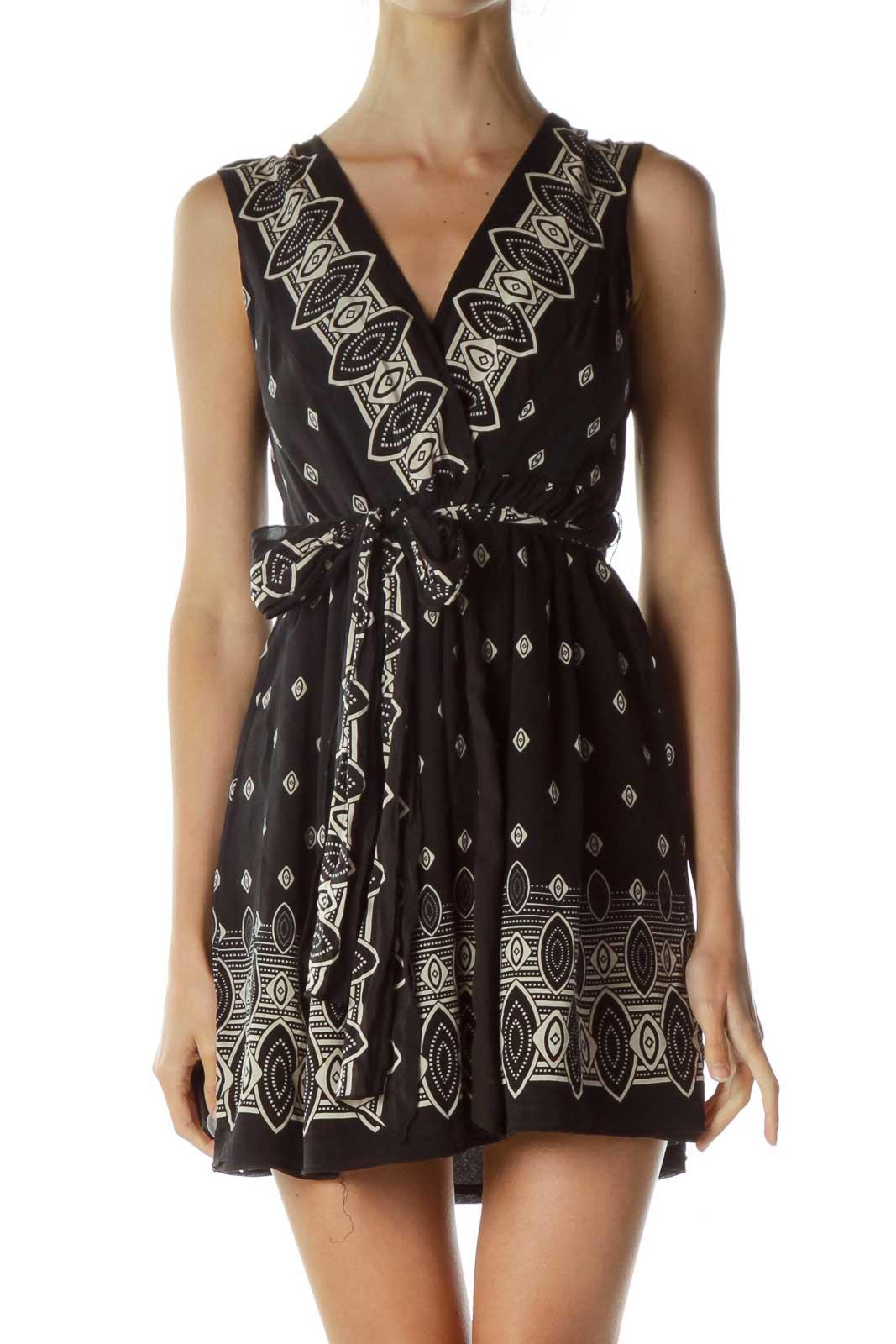Black Beige Silk Tribal Print Dress Front