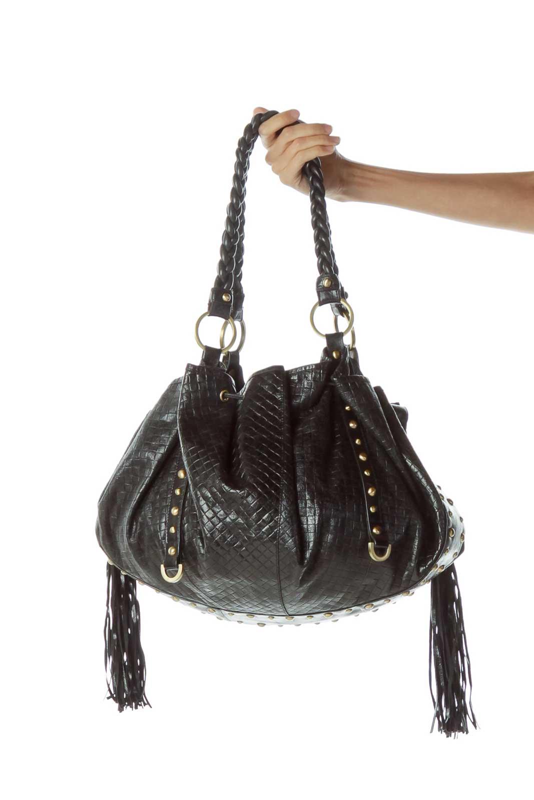 Black Fringe Studded Shoulder Bag Front