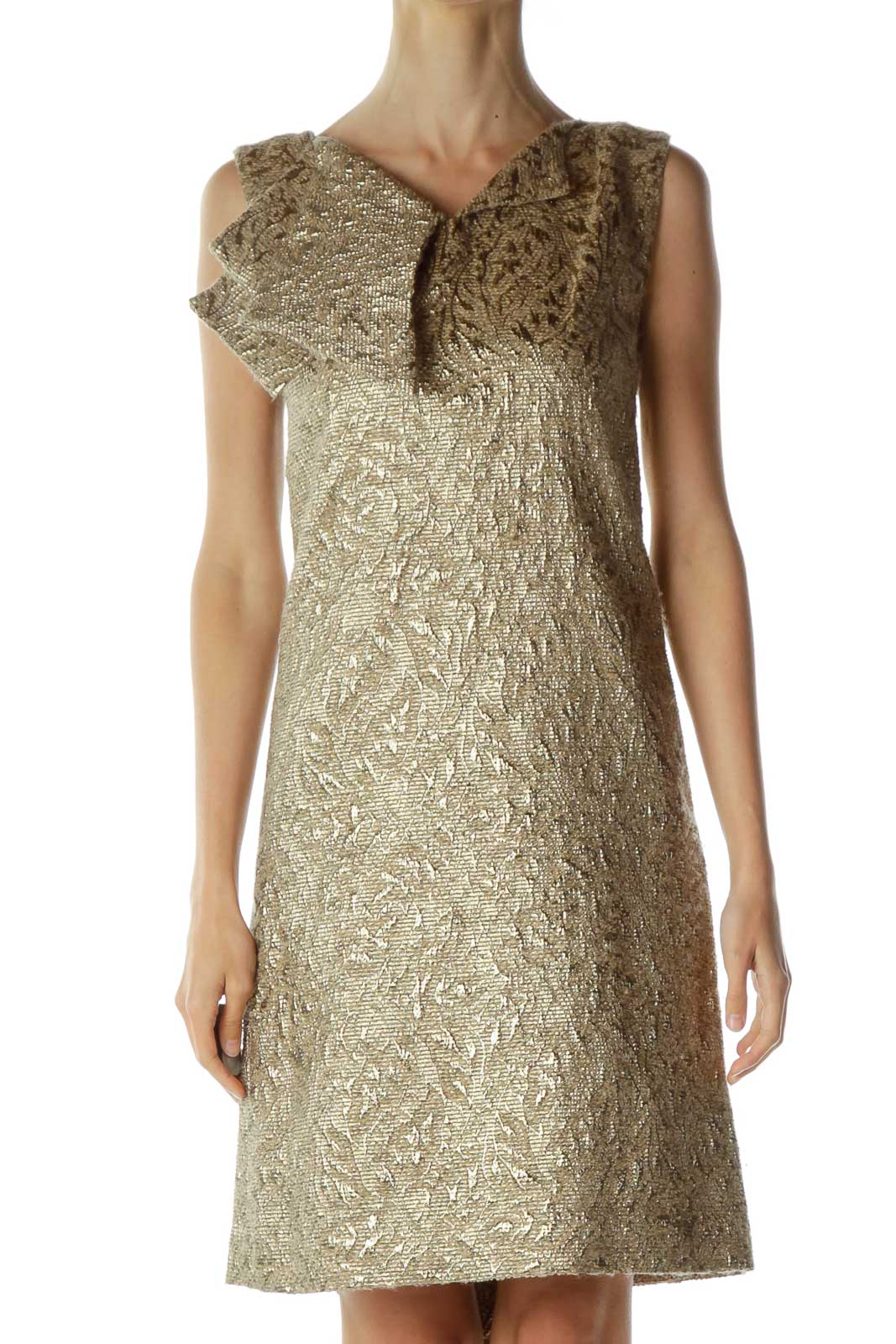 Gold Shift Dress with Ruffle Detail Front