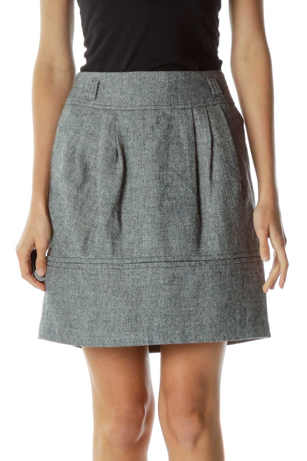 Gray Pleated Tweed Skirt Front