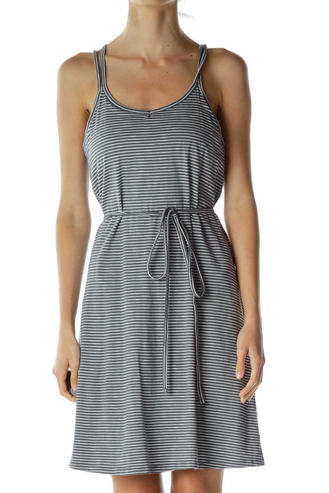 Gray White Striped Athletic Dress Front