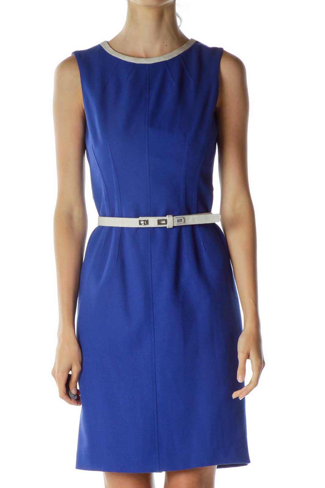 Blue Belted Sheath Dress Front
