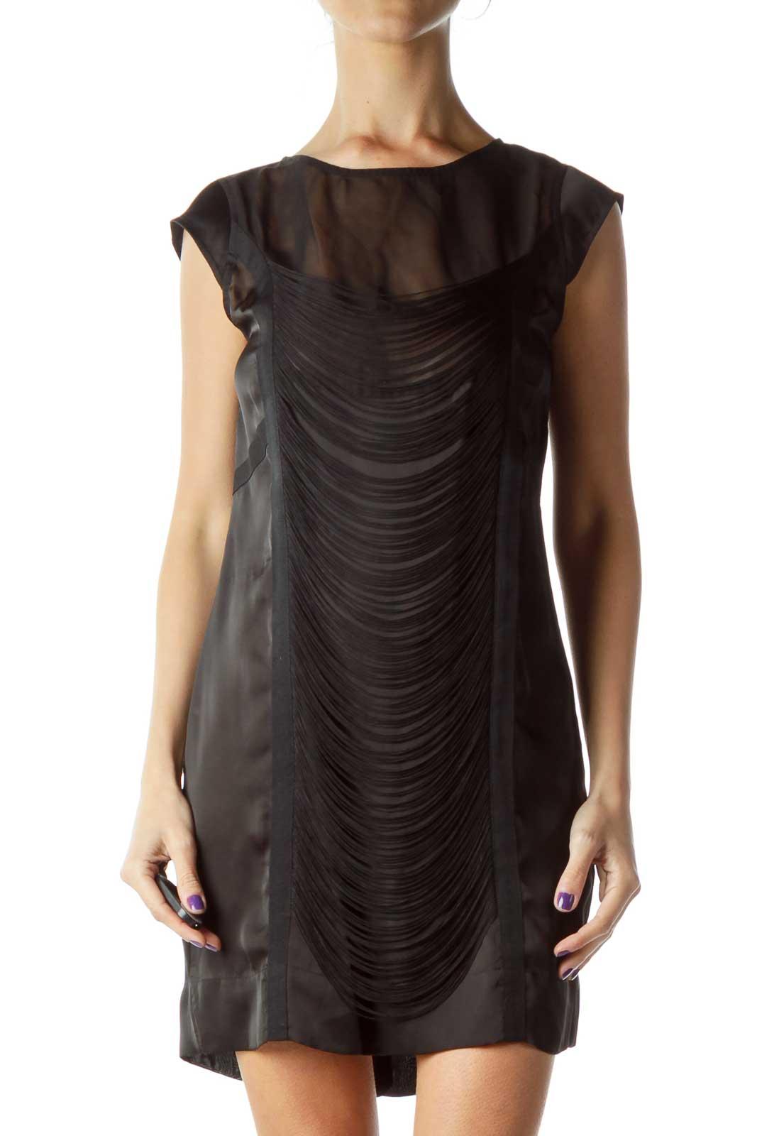 Black Fringe Cocktail Dress Front