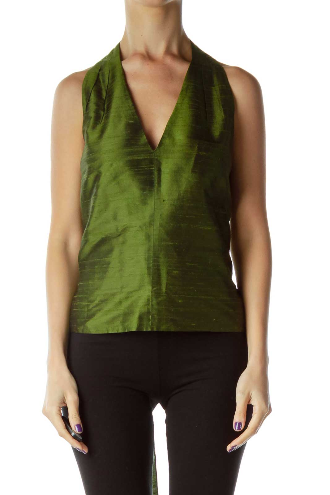 Green Silk V-Neck Bow Blouse Front