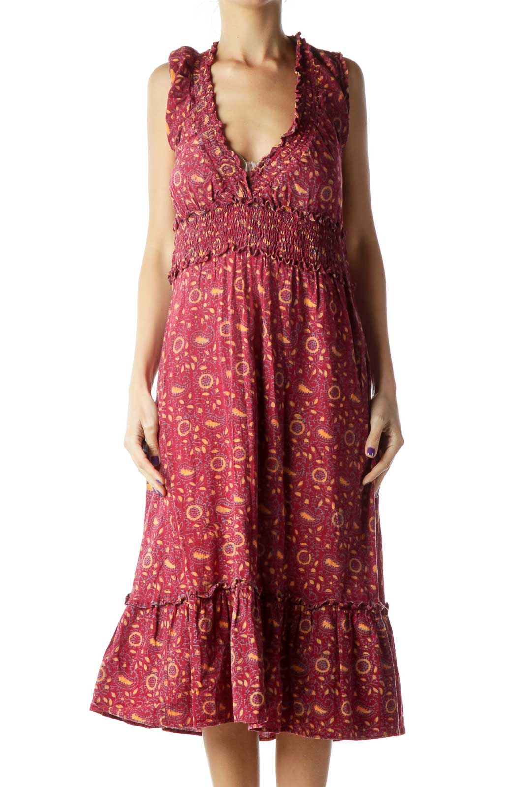 Red Printed Midi Day Dress Front