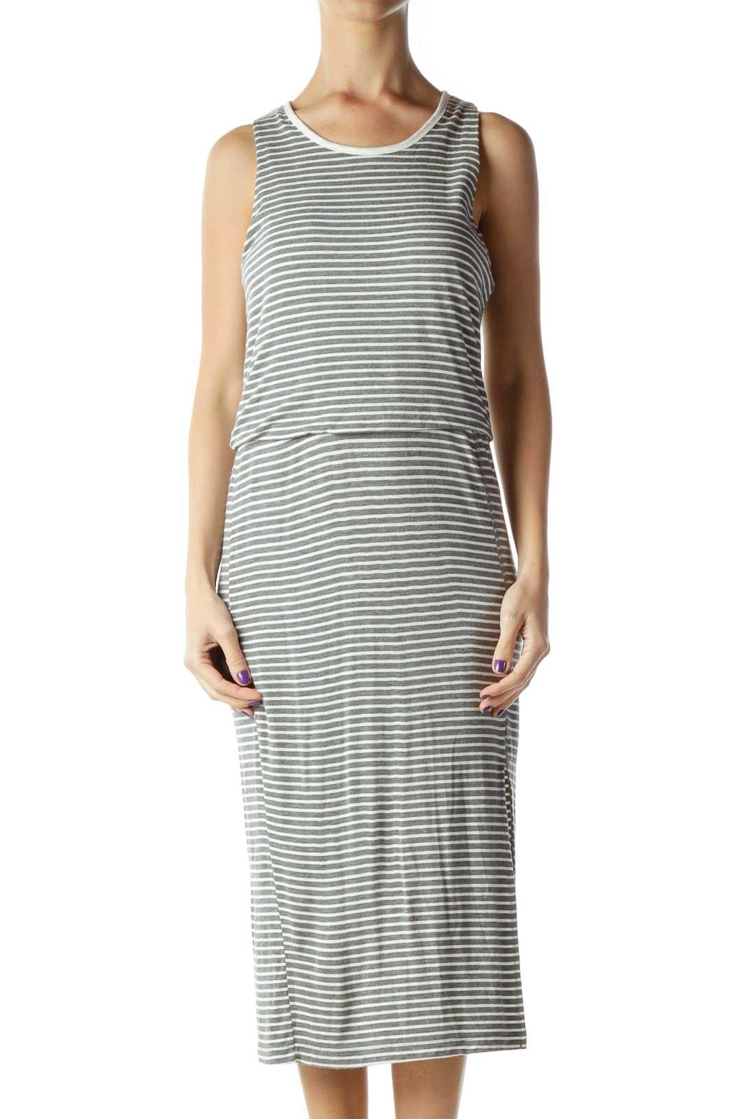 Gray Cream Stripe Jersey Dress Front