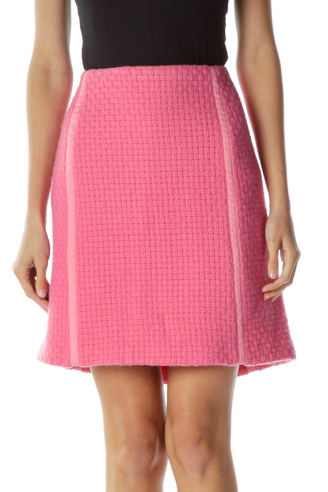 Pink Tweed Pencil Skirt Front