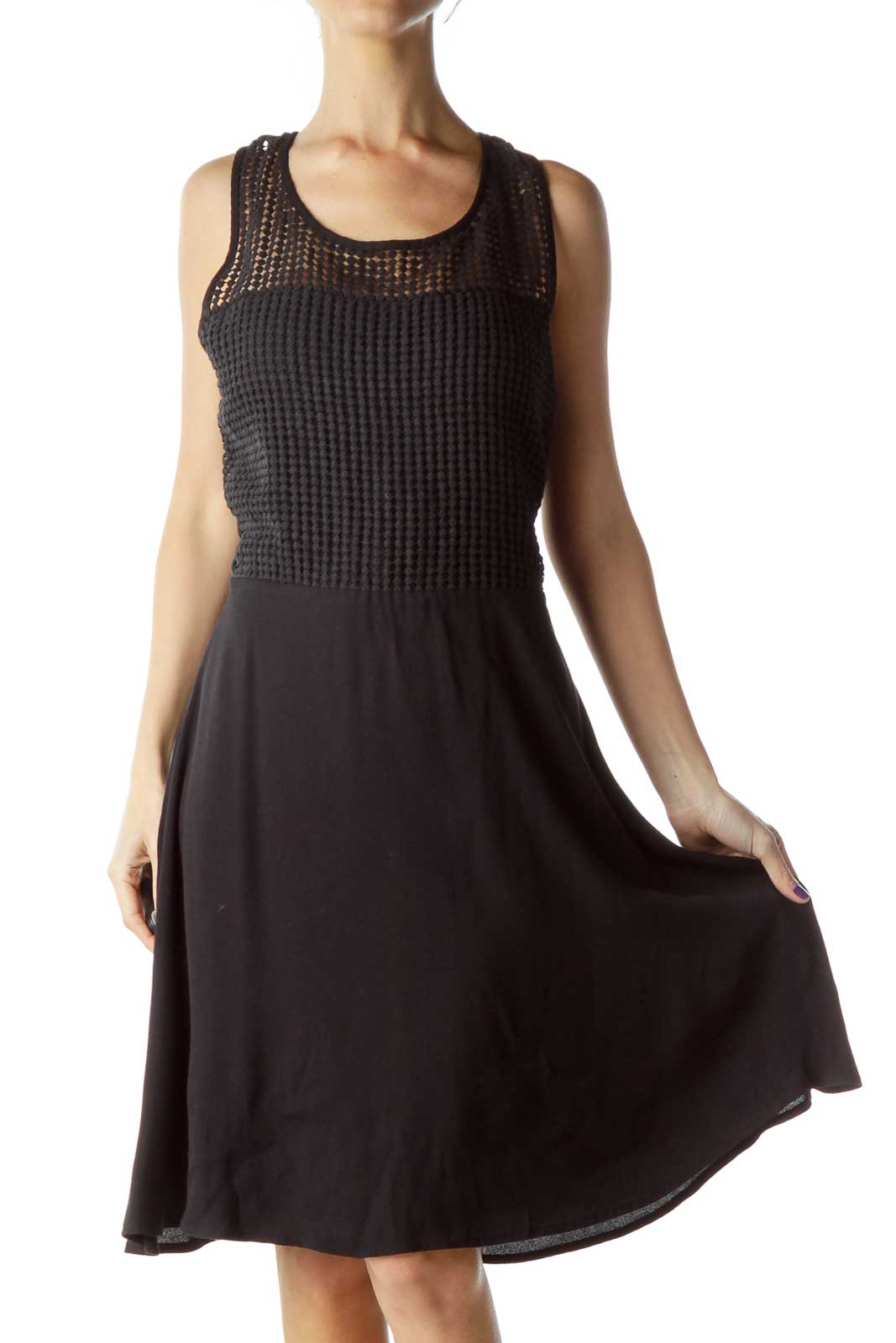 Black Crocheted Detail Flared Dress Front