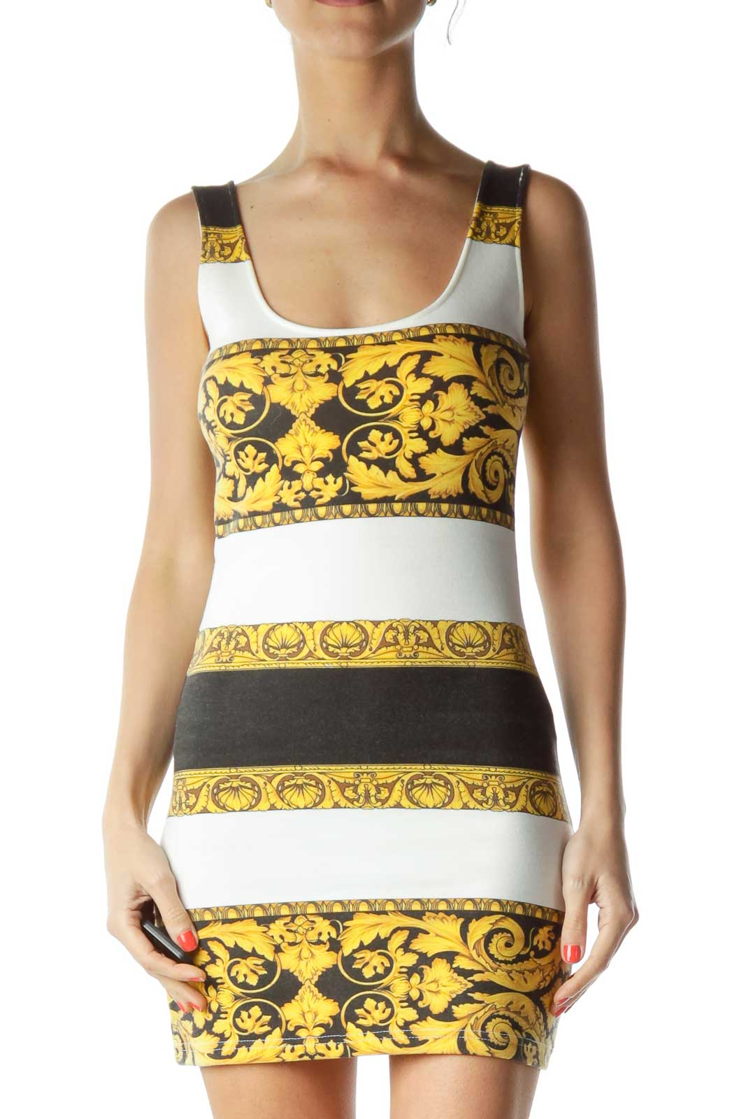 Yellow Black White Printed Day Dress Front