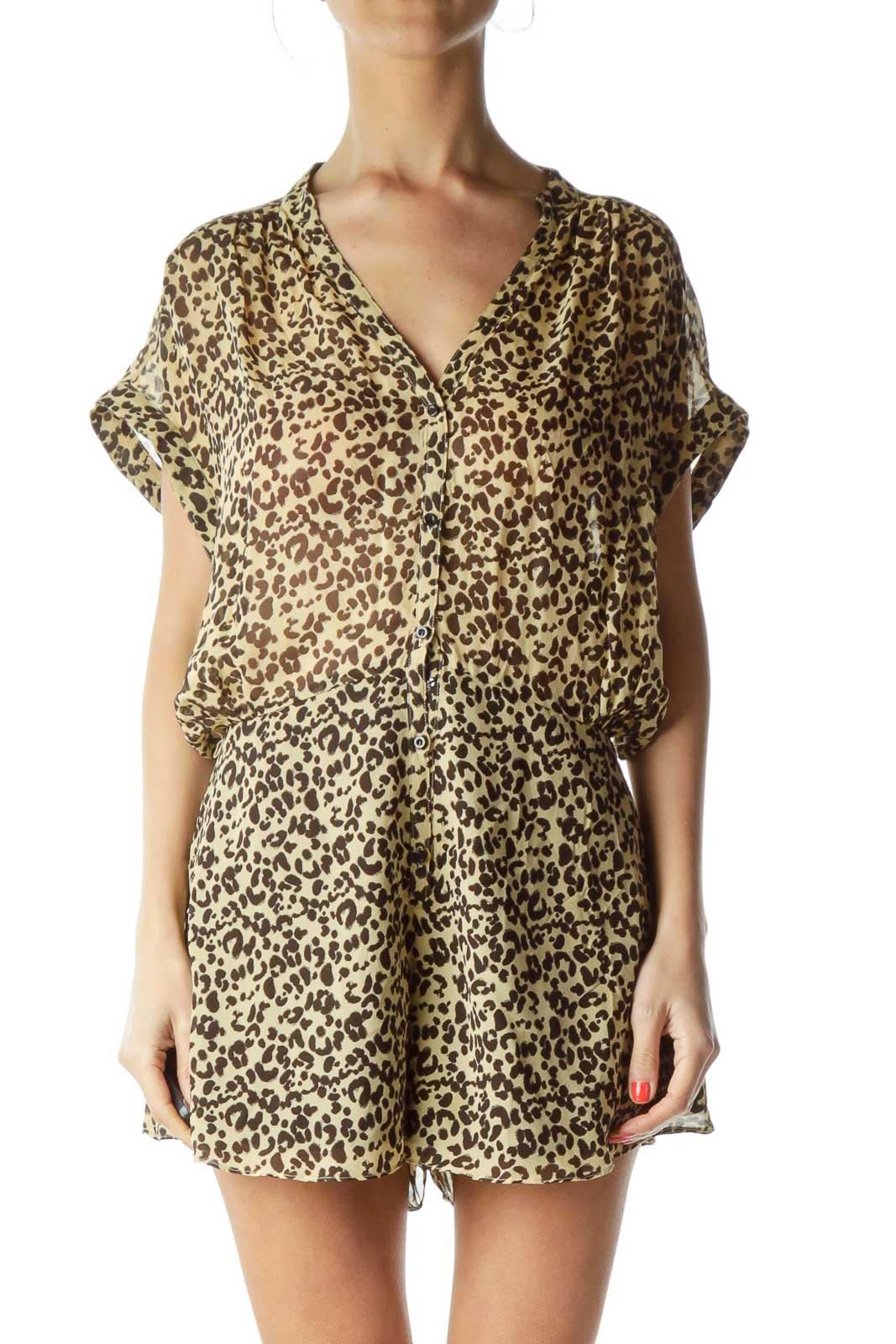 Leopard Print Sheer Romper Front