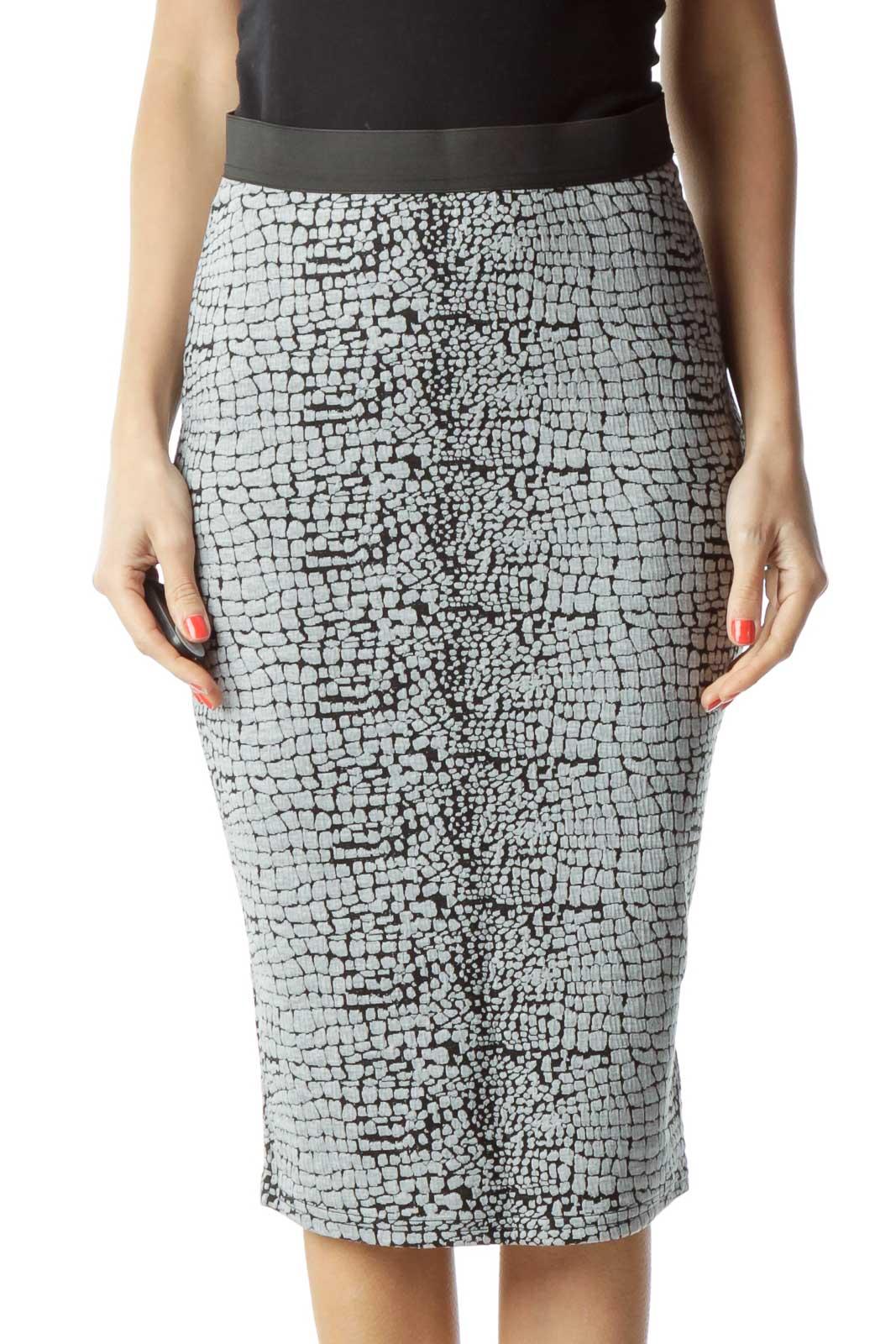 Black Gray Print Pencil Skirt Front