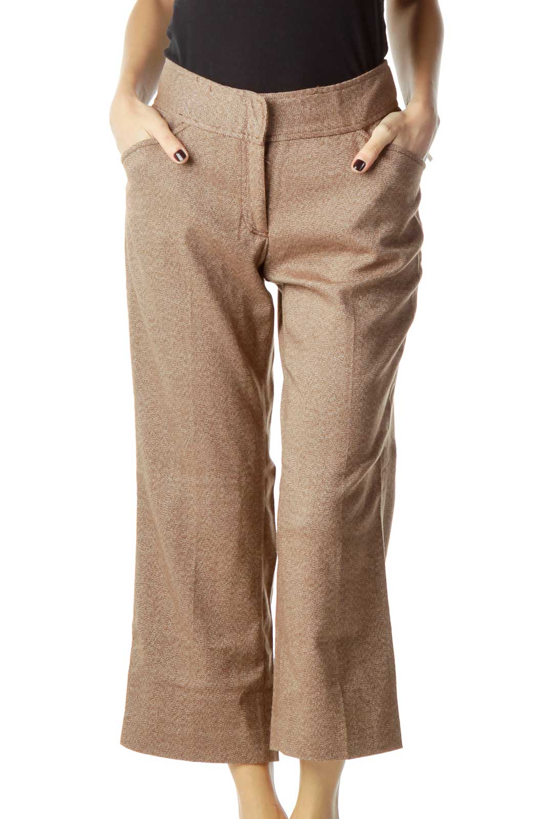 Brown Modeled Cropped Pant Front