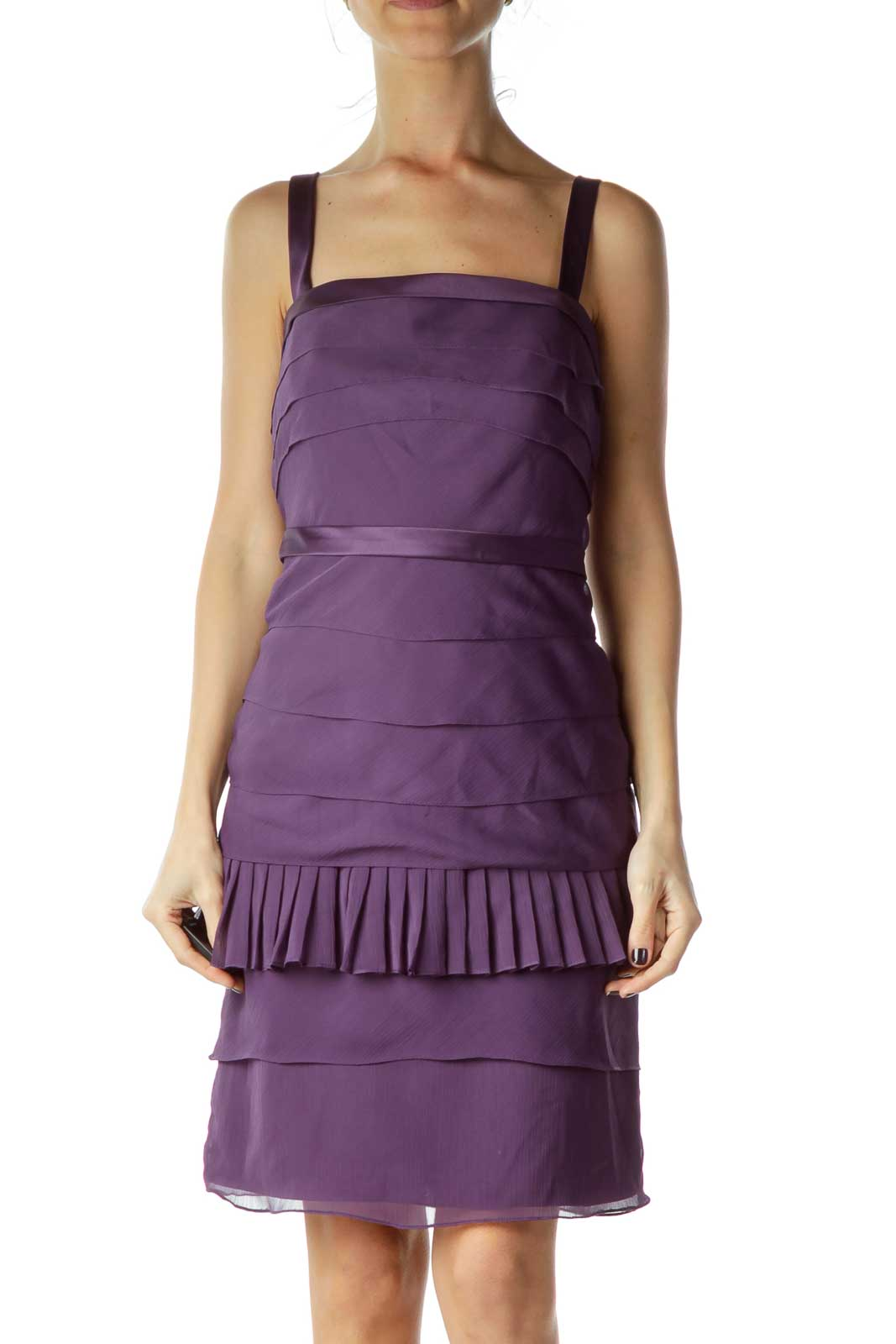 Purple Layered Faux-Satin Dress Front