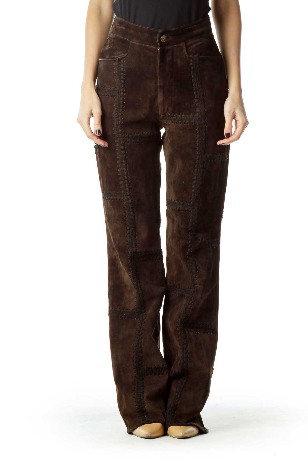 Brown Leather Patchwork Pant Front