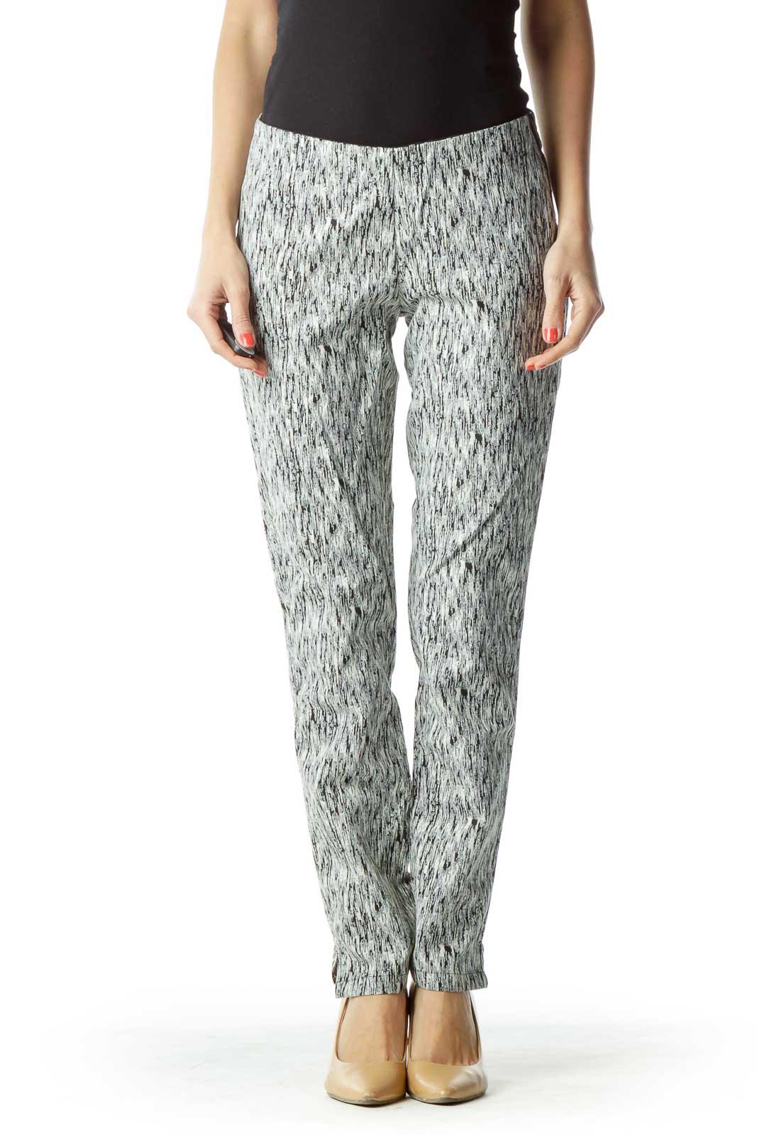 Black White Pattern Skinny Pant Front
