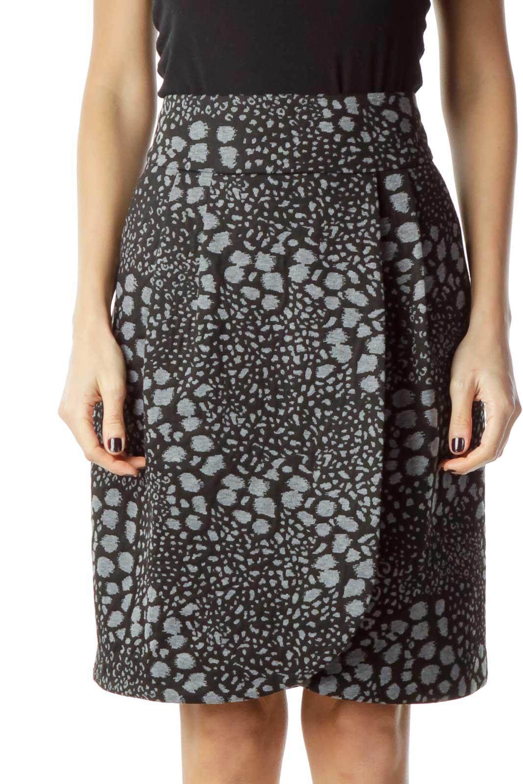 Gray Animal Print Skirt Front