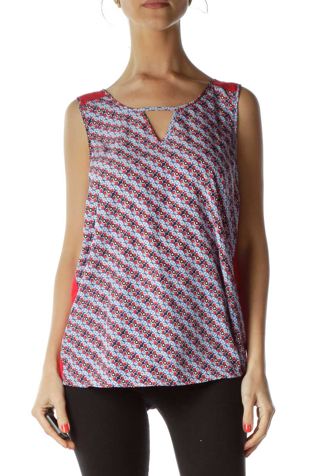 Blue Red Printed Sleeveless Blouse Front
