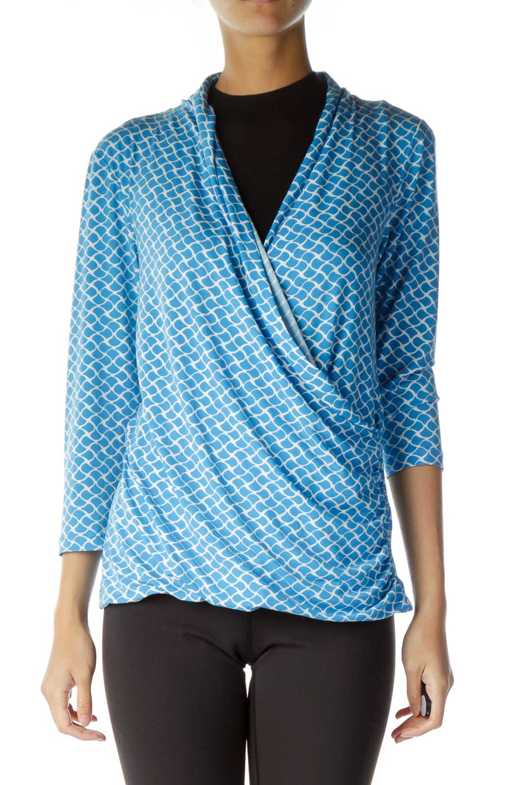 Blue White Deep-Neck Tunic Front