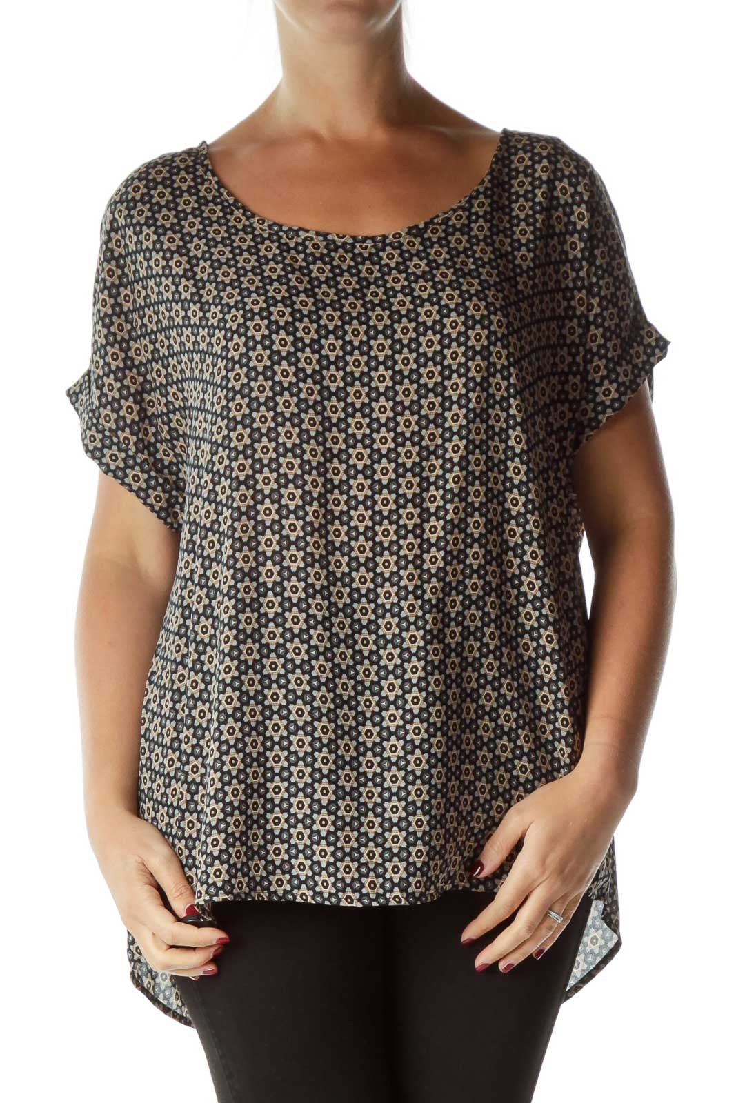 Gray Beige Printed Blouse Front