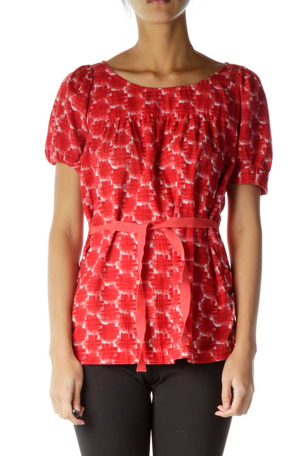 Red Print Belted Blouse Front