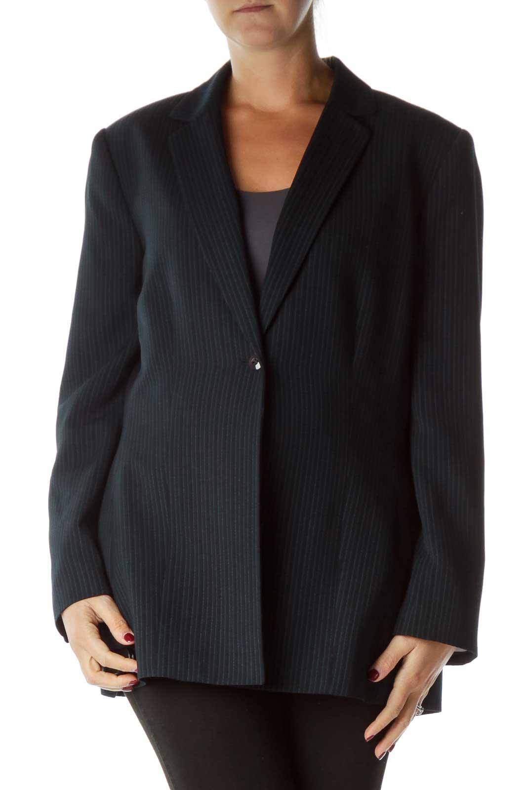 Black Blue Pinstripe Buttoned Blazer Front