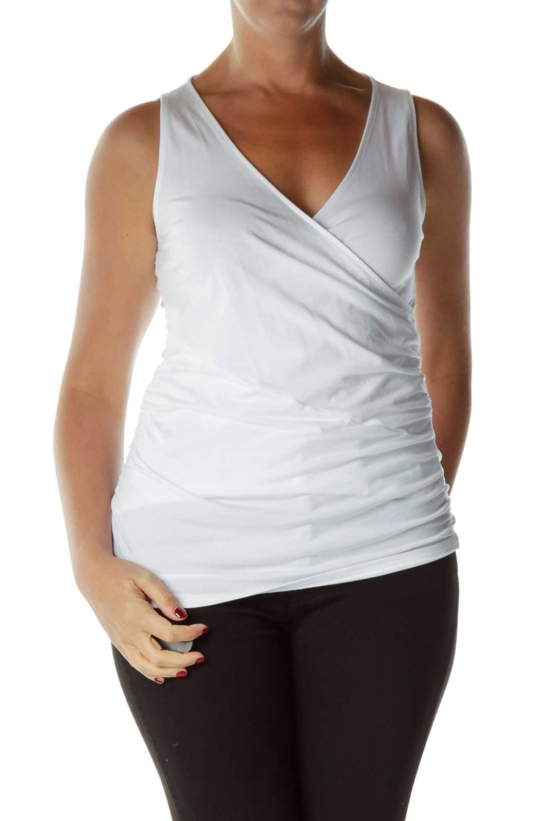 White Ruched Tank Top Front