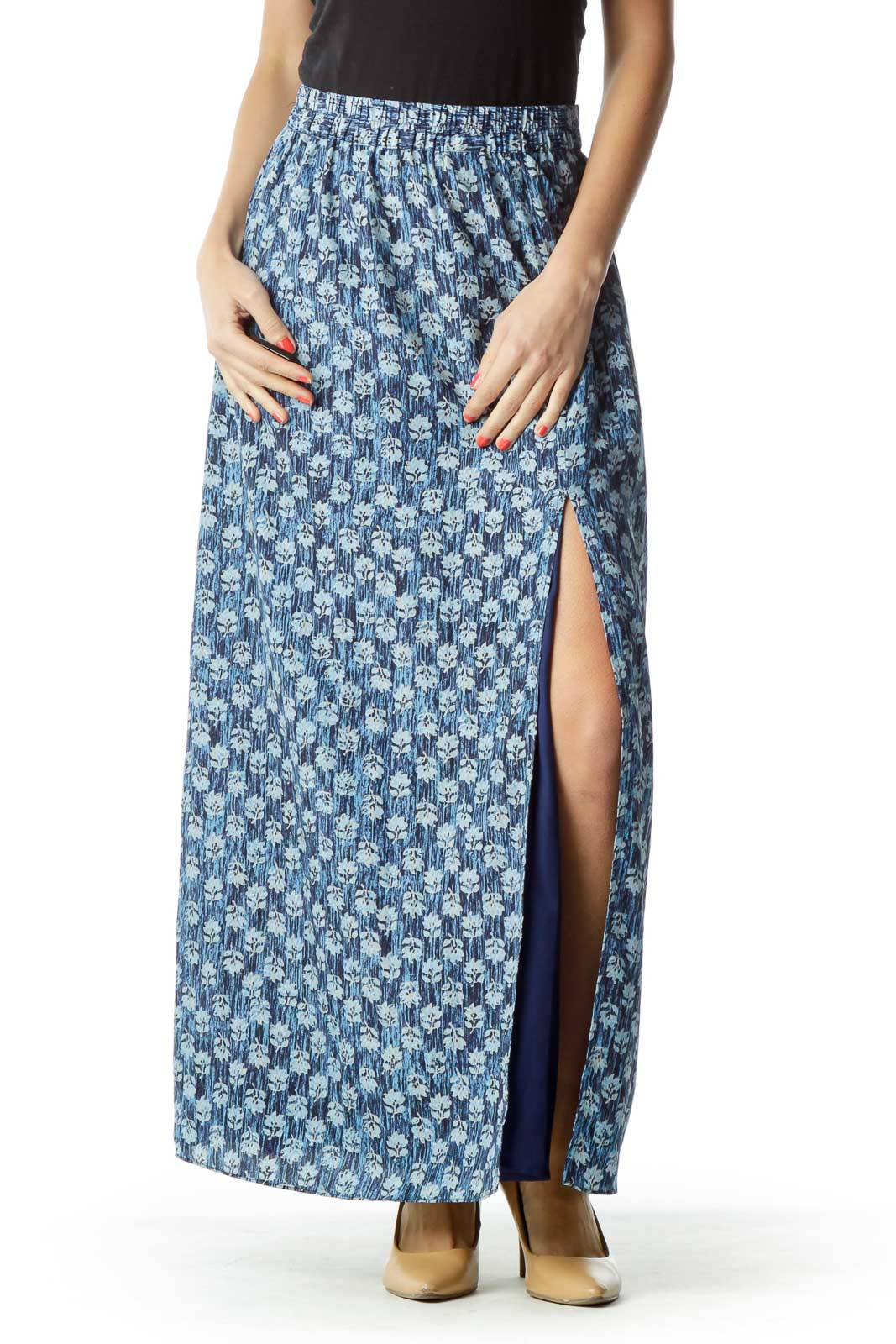 Blue Floral Print Maxi Skirt with Slit Front