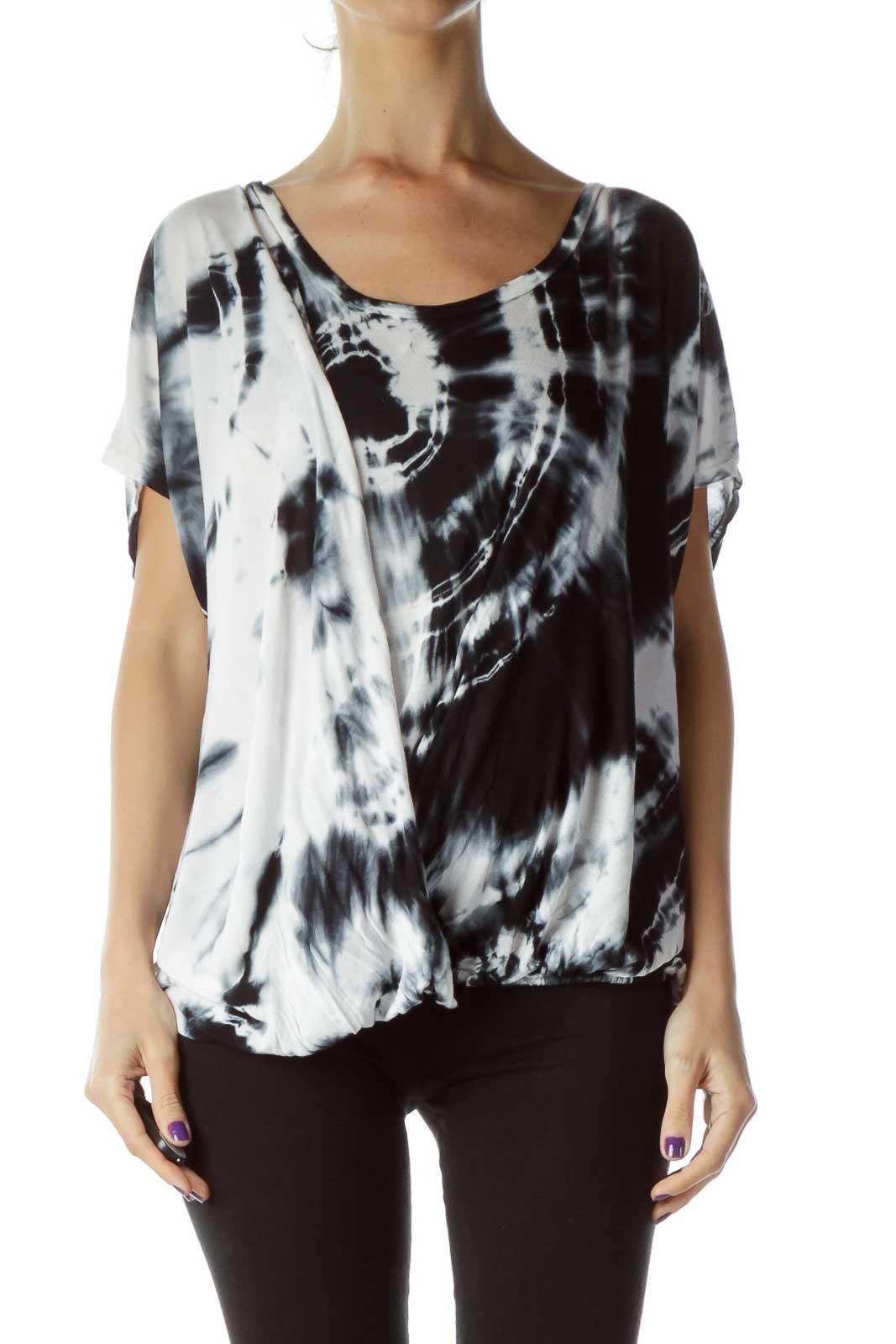 Black White Tie Dye Blouse Front