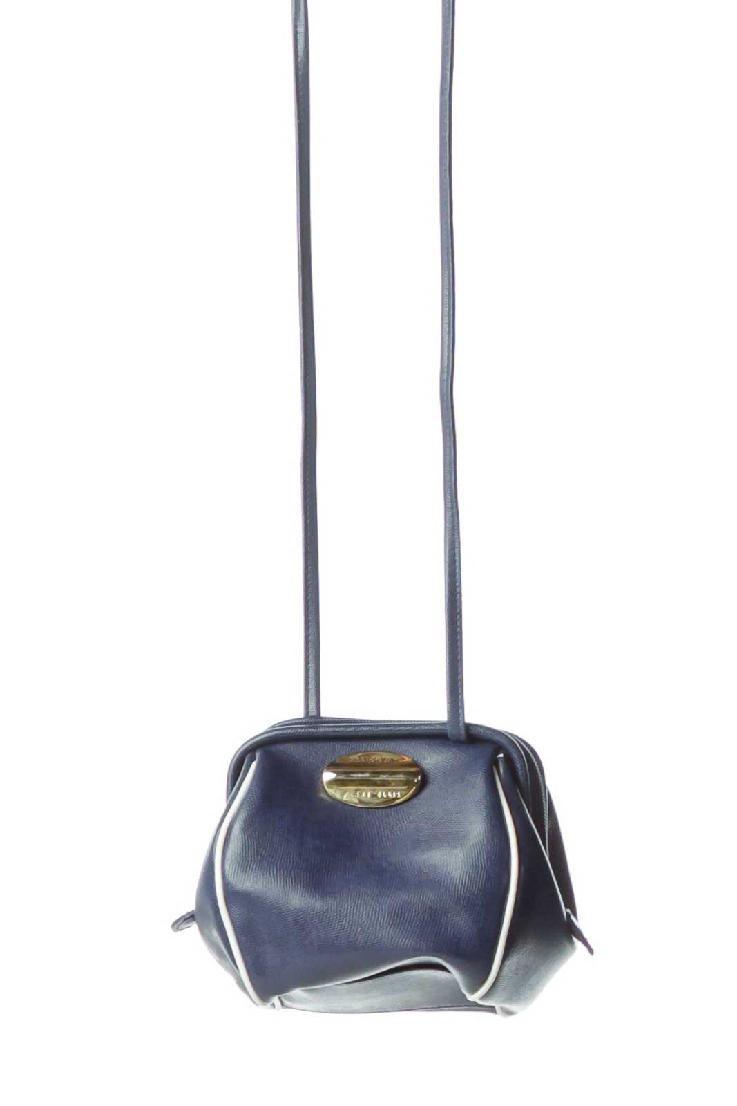 Blue Leather Long Crossbody Bag Front